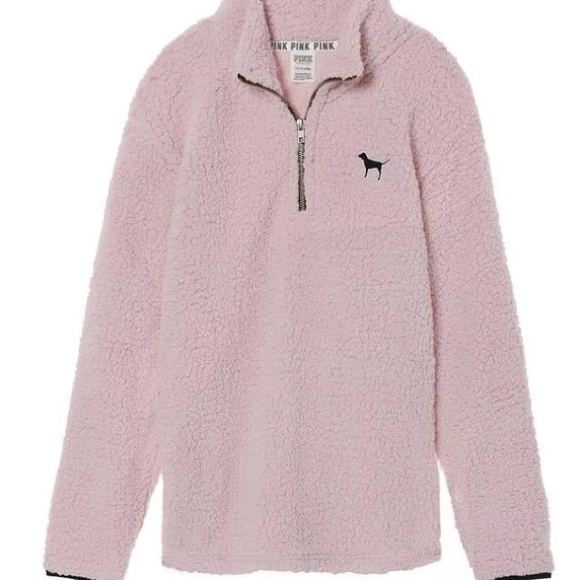 5d3f2a216e963 Baby Pink VS Sherpa Fleece 1/4 Zip Pullover Jacket NWT